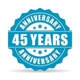 45 years anniversary vector icon. Isolated on white background vector illustration
