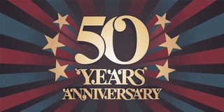 50 years anniversary vector icon, logo, banner Royalty Free Stock Photo