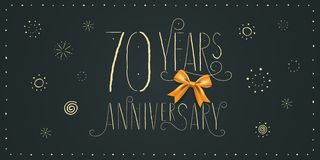 70 years anniversary vector icon, logo, banner. Design element. With vintage cute lettering for 70th anniversary card stock illustration