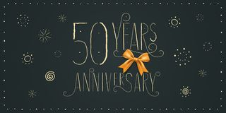 50 years anniversary vector icon, logo, banner. Design element. With vintage cute lettering for 50th anniversary card stock illustration