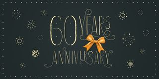 60 years anniversary vector icon, logo, banner. Design element. With vintage cute lettering for 60th anniversary card vector illustration