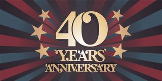 40 years anniversary vector icon, logo, banner Royalty Free Stock Photos
