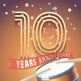 10 years anniversary vector icon, logo. Design element with golden number and drums on background for 10th anniversary Stock Illustration