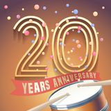 20 years anniversary vector icon, logo. Design element with golden number and drums on background for 20th anniversary Royalty Free Stock Photography