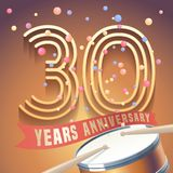 30 years anniversary vector icon, logo. Design element with golden number and drums on background for 30th anniversary Royalty Free Stock Photos
