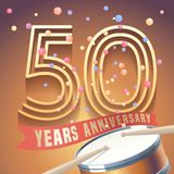 50 years anniversary vector icon, logo. Design element with golden number and drums on background for 50th anniversary stock illustration