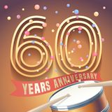 60 years anniversary vector icon, logo. Design element with golden number and drums on background for 60th anniversary Royalty Free Stock Photo