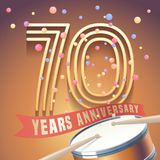 70 years anniversary vector icon, logo. Design element with golden number and drums on background for 70th anniversary Stock Image