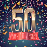 50 years anniversary vector icon, logo. Design element with golden number and festive background for decoration for 50th anniversary Stock Photography
