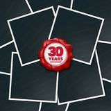 30 years anniversary vector icon, logo. Design element, greeting card with collage of photo frames and red wax stamp for 30th anniversary Royalty Free Stock Images