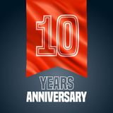 10 years anniversary vector icon, logo. Design element with red flag for decoration for 10th anniversary Vector Illustration