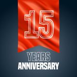 15 years anniversary vector icon, logo. Design element with red flag for decoration for 15th anniversary stock illustration