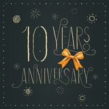 10 years anniversary vector icon, logo. Design element. With elegant sign for decoration for 10th anniversary royalty free illustration