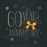 60 years anniversary vector icon, logo. Design element. With elegant sign for decoration for 60th anniversary stock illustration