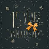 15 years anniversary vector icon, logo. Design element. With elegant sign for decoration for 15th anniversary stock illustration