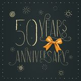 50 years anniversary vector icon, logo. Design element. With elegant sign for decoration for 50th anniversary stock illustration
