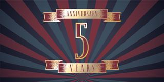 5 years anniversary vector icon, logo. Graphic design element with abstract background for 5th anniversary card Royalty Free Stock Photo