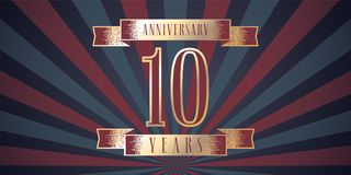 10 years anniversary vector icon, logo. Graphic design element with abstract background for 10th anniversary card Royalty Free Stock Photo