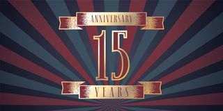 15 years anniversary vector icon, logo. Graphic design element with abstract background for 15th anniversary card Royalty Free Stock Images