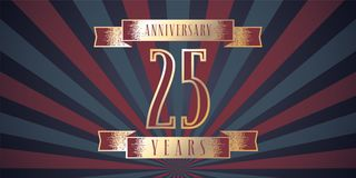 25 years anniversary vector icon, logo. Graphic design element with abstract background for 25th anniversary card Stock Photos