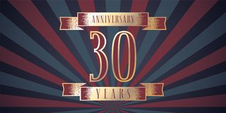 30 years anniversary vector icon, logo. Graphic design element with abstract background for 30th anniversary card Royalty Free Stock Image