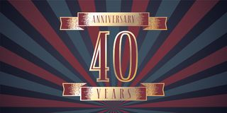 40 years anniversary vector icon, logo. Graphic design element with abstract background for 40th anniversary card royalty free illustration