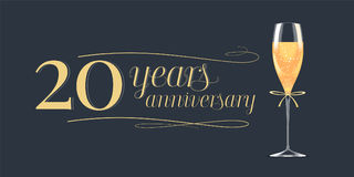 20 years anniversary vector icon, logo. Graphic design element, banner with golden lettering and glass of champagne for 20th anniversary background royalty free illustration