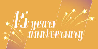15 years anniversary vector icon, logo. Graphic design element or banner for 15th anniversary Royalty Free Stock Photo