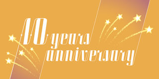 10 years anniversary vector icon, logo. Graphic design element or banner for 10th anniversary Royalty Free Stock Image