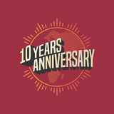 10 years anniversary vector icon, logo. Graphic design element for decoration for 10th anniversary card Stock Images
