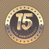 15 years anniversary vector icon, logo. Graphic design element or emblem as a golden medal for 15th anniversary Royalty Free Stock Image