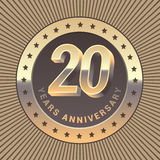 20 years anniversary vector icon, logo. Graphic design element or emblem as a golden medal for 20th anniversary Royalty Free Stock Images