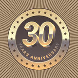 30 years anniversary vector icon, logo. Graphic design element or emblem as a golden medal for 30th anniversary Royalty Free Stock Image
