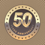50 years anniversary vector icon, logo. Graphic design element or emblem as a golden medal for 50th anniversary Royalty Free Stock Photography