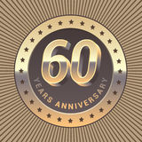 60 years anniversary vector icon, logo. Graphic design element or emblem as a golden medal for 60th anniversary vector illustration