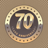 70 years anniversary vector icon, logo. Graphic design element or emblem as a golden medal for 70th anniversary Stock Photos