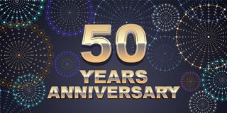 50 years anniversary vector icon, logo. Graphic design element with golden 3D numbers for 50th anniversary decoration Stock Image