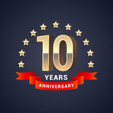 10 years anniversary vector icon, logo. Graphic design element with golden 3D numbers for 10th anniversary decoration Stock Photo