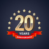20 years anniversary vector icon, logo. Graphic design element with golden 3D numbers for 20th anniversary decoration Royalty Free Stock Photography