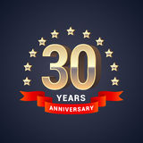 30 years anniversary vector icon, logo. Graphic design element with golden 3D numbers for 30th anniversary decoration Royalty Free Stock Photos