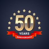 50 years anniversary vector icon, logo. Graphic design element with golden 3D numbers for 50th anniversary decoration Royalty Free Stock Image
