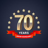 70 years anniversary vector icon, logo. Graphic design element with golden 3D numbers for 70th anniversary decoration Royalty Free Stock Image
