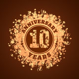 10 years anniversary vector icon, logo. Graphic design element, golden decoration for 10th anniversary card Stock Image
