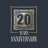 20 years anniversary vector icon, logo. Graphic design element with golden frame and number for 20th anniversary decoration Stock Images