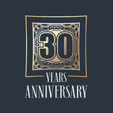 30 years anniversary vector icon, logo. Graphic design element with golden frame and number for 30th anniversary decoration Royalty Free Stock Photo