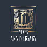 10 years anniversary vector icon, logo. Graphic design element with golden frame and number for 10th anniversary decoration Stock Illustration