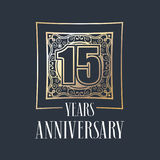 15 years anniversary vector icon, logo. Graphic design element with golden frame and number for 15th anniversary decoration Royalty Free Stock Photography