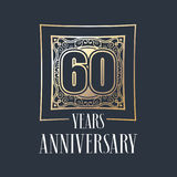 60 years anniversary vector icon, logo. Graphic design element with golden frame and number for 60th anniversary decoration royalty free illustration