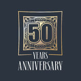 50 years anniversary vector icon, logo. Graphic design element with golden frame and number for 50th anniversary decoration Royalty Free Stock Photos