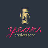 5 years anniversary vector icon, logo. Graphic design element with golden glitter stamp for decoration for 5th anniversary stock illustration
